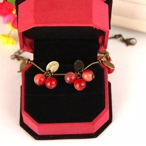 Jewelry - Copper & Red Berry Cherry Floral Boho Bracelet